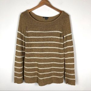 Vince Striped Knit Tan/White Long Sleeve Sweater